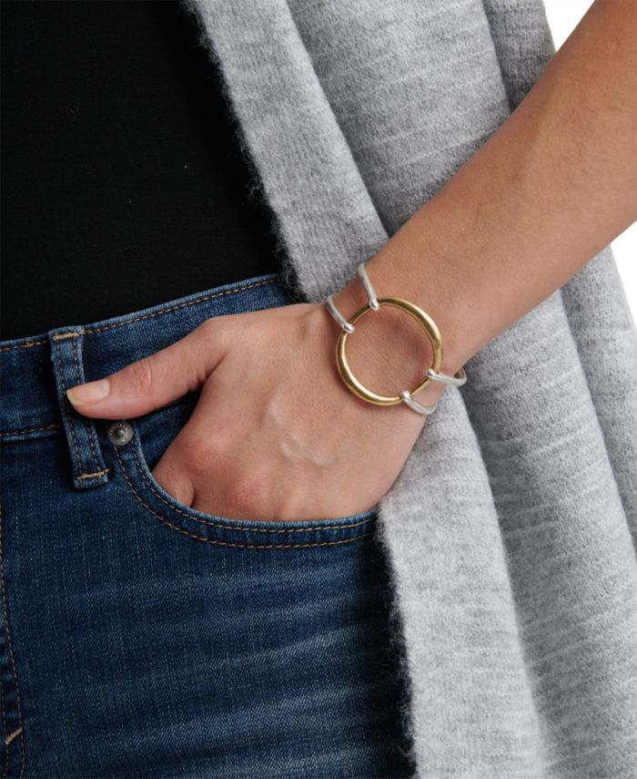 Lucky Brand Two-Tone Openwork Circle Cuff Bracelet & Reviews - Bracelets - Jewelry & Watches - Macy's