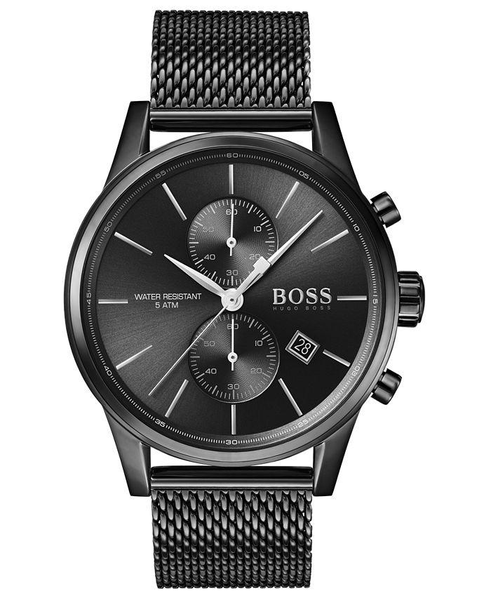 BOSS - Men's Chronograph Jet Black Ion-Plated Stainless Steel Mesh Bracelet Watch 41mm