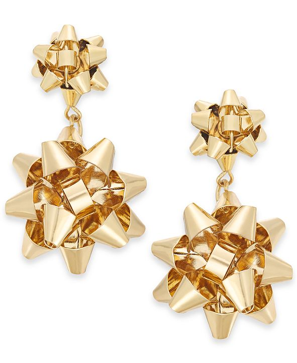 Charter Club Gold-Tone Bow Drop Earrings, Created for Macy's
