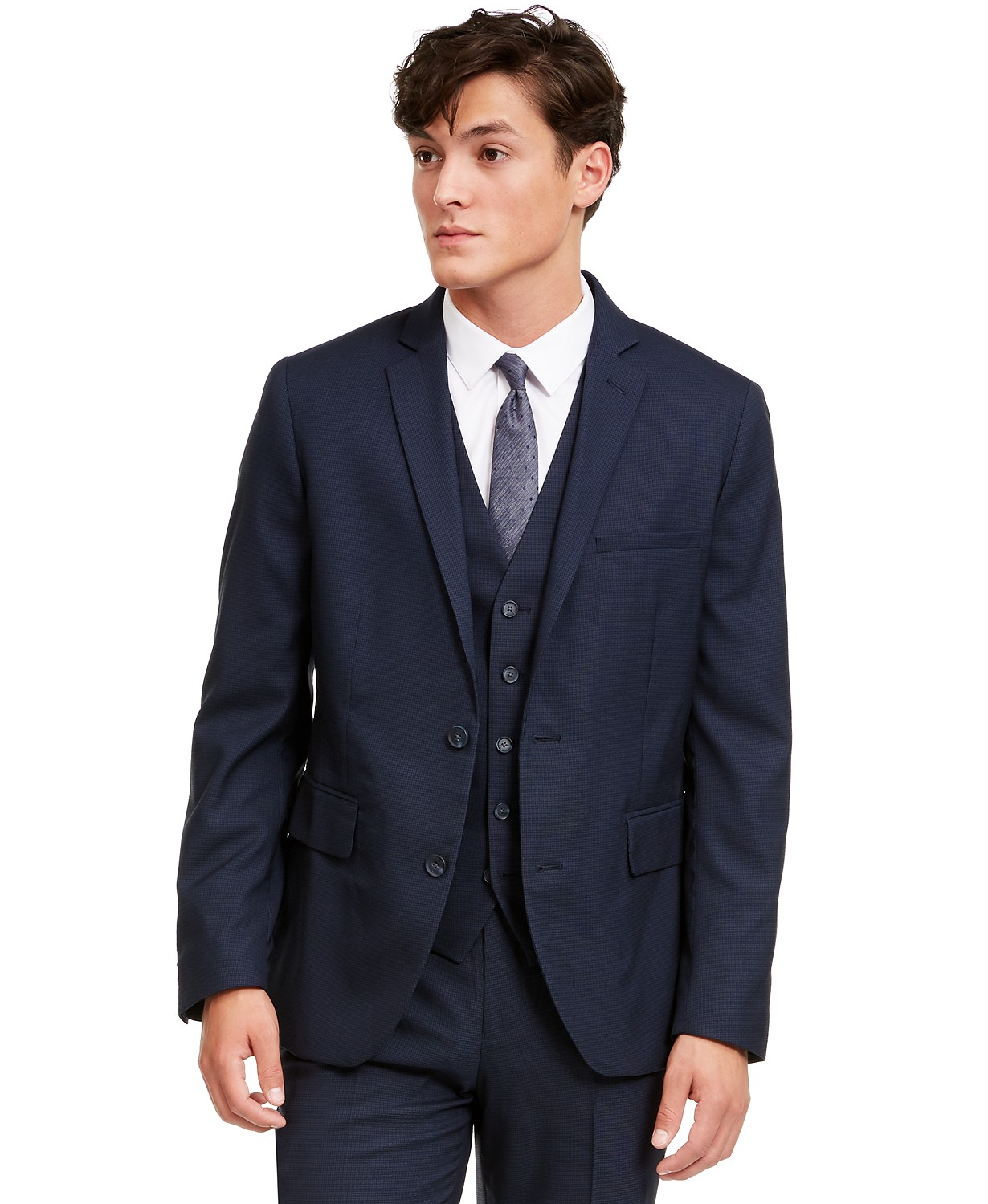 INC Men's Slim-Fit Micro Check Suit Jacket