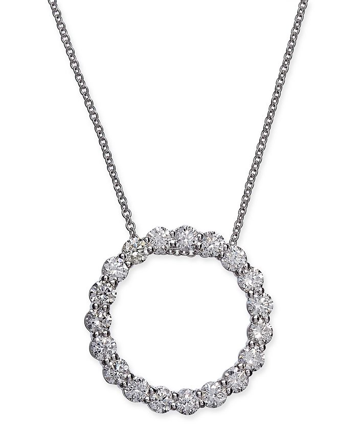 """Macy's - Certified Diamond Open Circle Pendant Necklace (1-1/2 ct. t.w.) in 14k White Gold, 16"""" + 2"""" extender"""