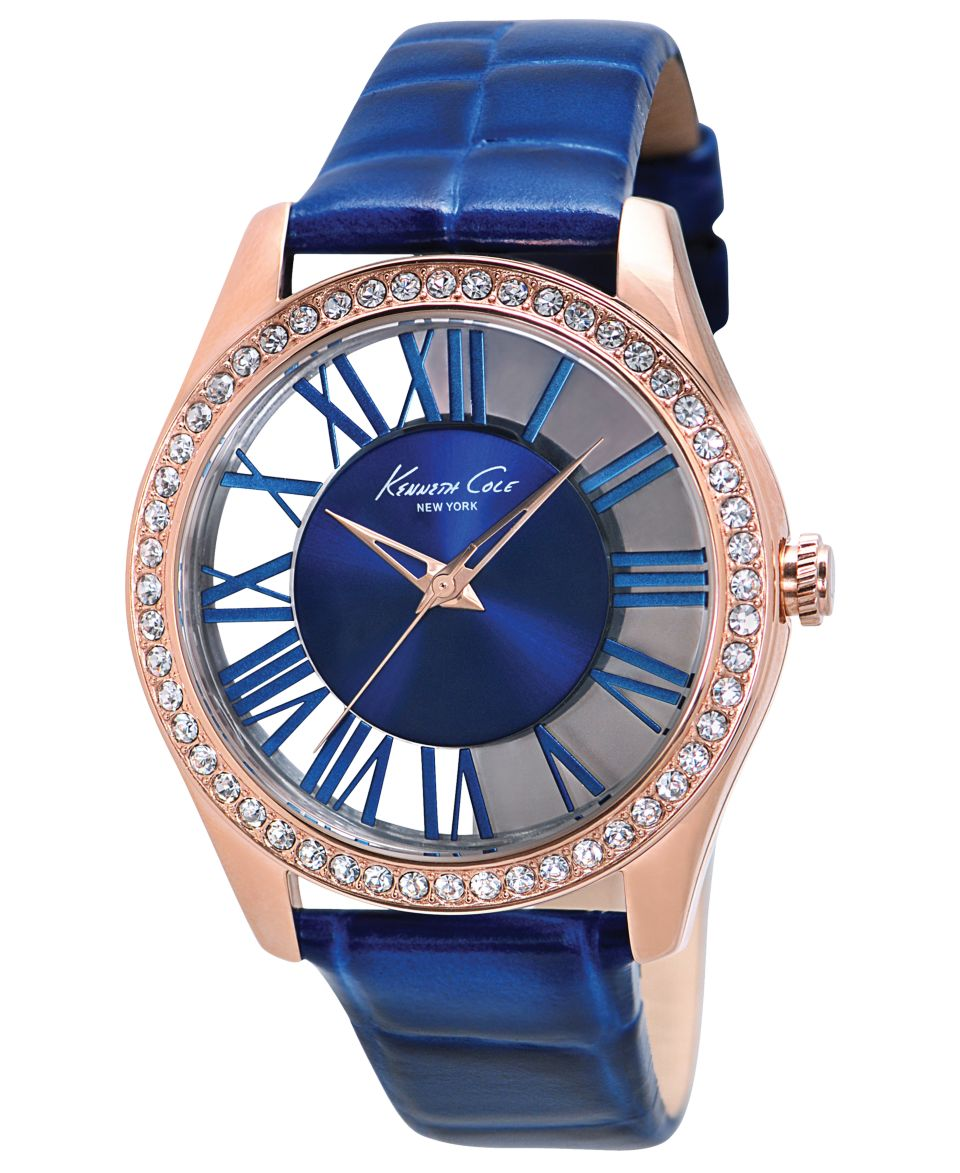 Kenneth Cole New York Watch, Womens Blue Croc Embossed Leather Strap 39mm KC2757   Watches   Jewelry & Watches