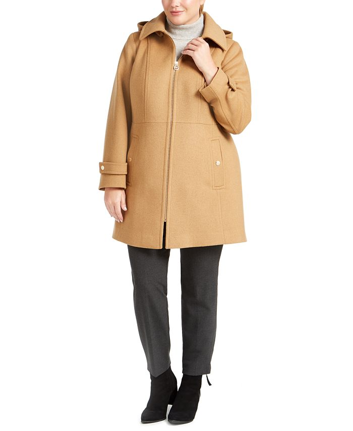 Michael Kors - Plus Size Hooded Stand-Collar Coat
