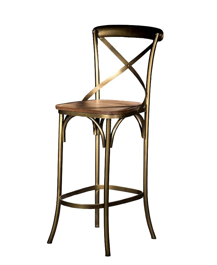 Villa2 - X Back Solid Iron Wood Armless Barstool with Footrest in Weathered Vintage Seat Brushed Antique Gold