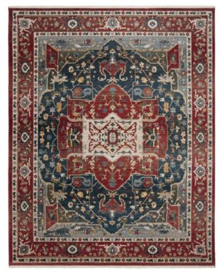 """Camille LRL1225A Red and Navy 5'1"""" X 7'6"""" Area Rug"""