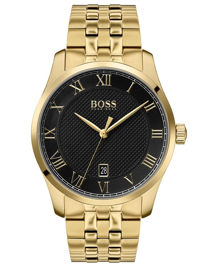 BOSS - Men's Master Gold Ion-Plated Stainless Steel Bracelet Watch 41mm