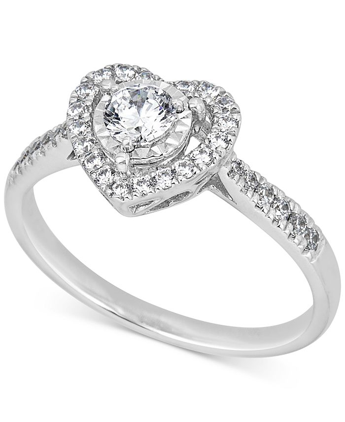 Macy's - Diamond Heart Halo Ring (1/2 ct. t.w.) in 14k White Gold