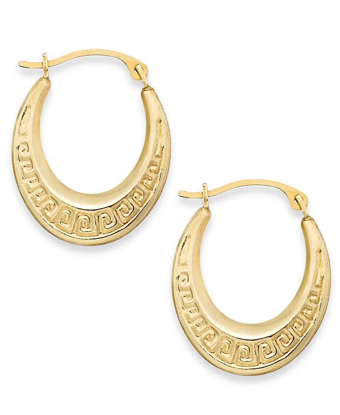 Macy's - 10k Gold Earrings, Greek Key Hoop Earrings