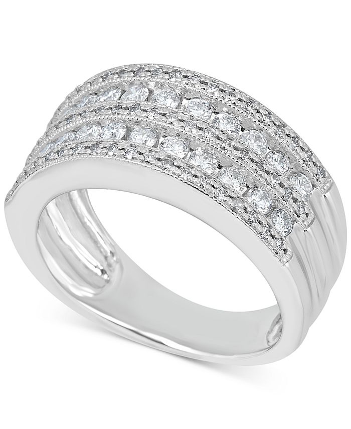 Macy's - Diamond Multi-Row Milgrain Edge Band (1 ct. t.w.) in 14k White Gold
