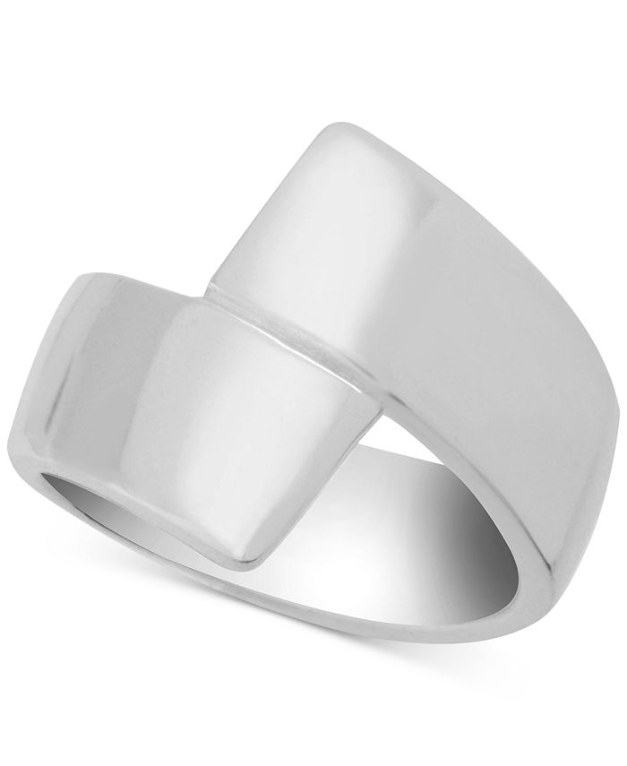 Essentials - Polished Bypass Ring in Fine Silver-Plate
