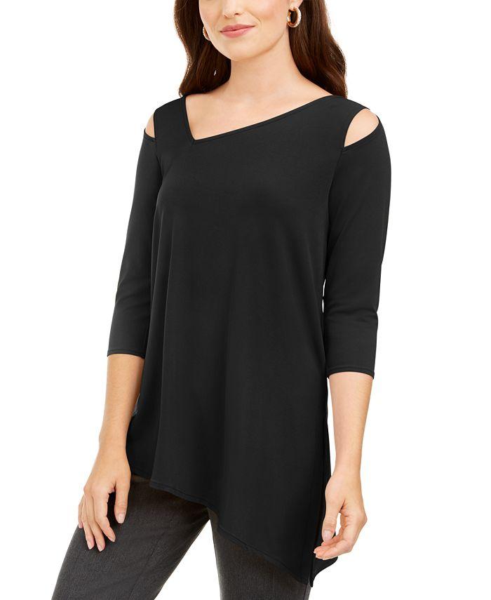 Alfani - Cutout-Shoulder Asymmetrical Top, Created for Macy's