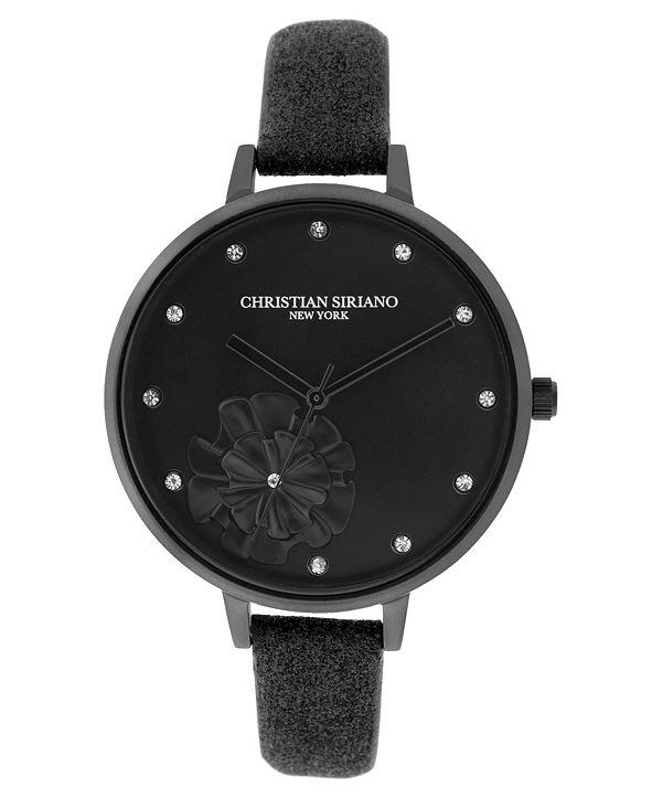 Christian Siriano New York Christian Siriano Women's Analog Black-Tone Stainless Steel Glitter Strap Watch 38mm