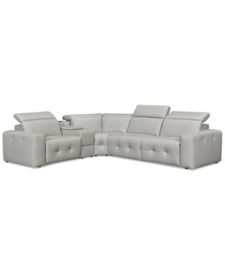 "Haigan 5-Pc. Leather ""L"" Shape Sectional Sofa with 2 Power Recliners, Created for Macy's"