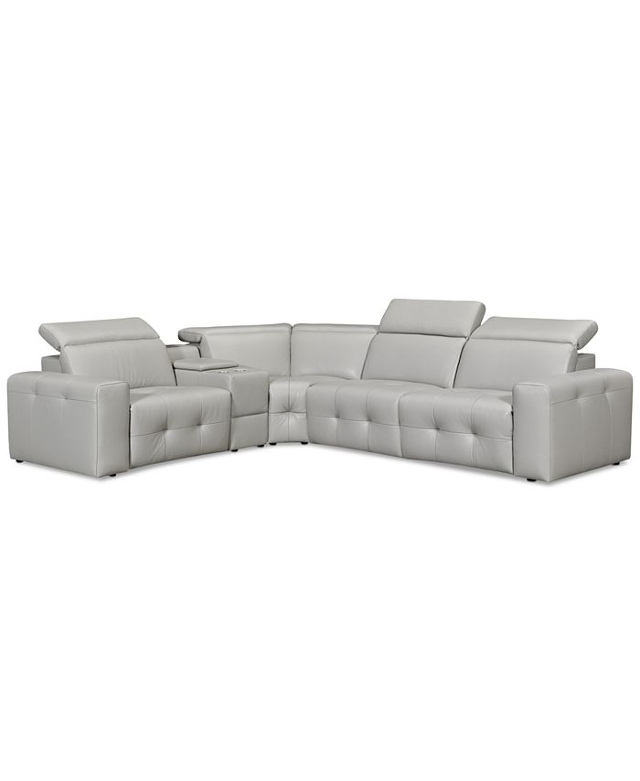 "Furniture - Haigan 5-Pc. Leather ""L"" Shape Sectional Sofa with 2 Power Recliners"