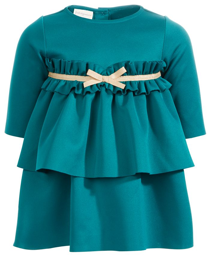 First Impressions Baby Girls Scuba Ruffled Bow Dress Created For Macy S Reviews All Girls Dresses Kids Macy S