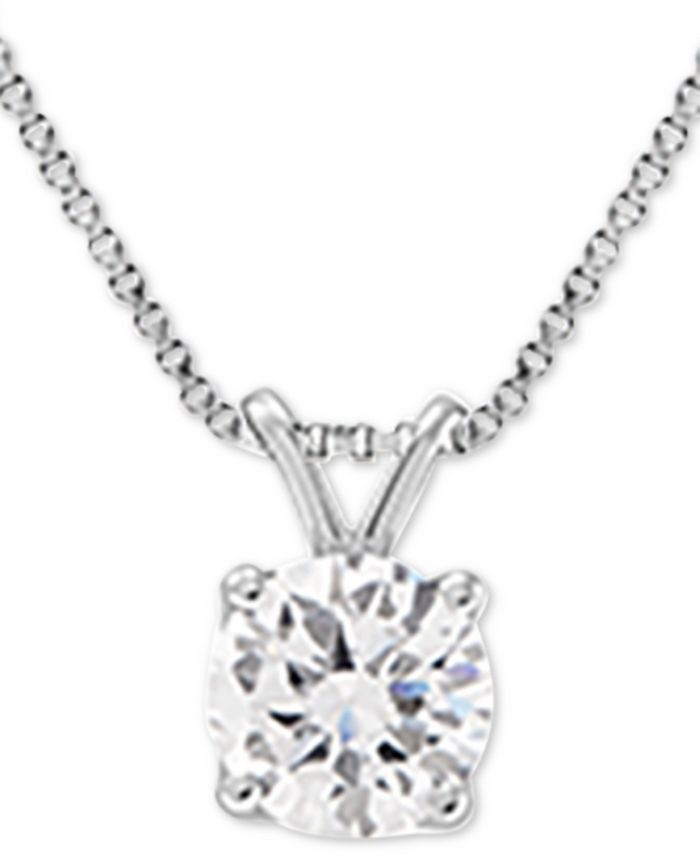 """Grown With Love - Lab Grown Diamond Solitaire 18"""" Pendant Necklace (1-1/2 ct. t.w.) in 14k White Gold"""