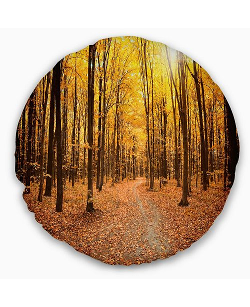 Design Art Designart Yellow Treetops In Fall Forest Modern Forest Throw Pillow 16 Round Reviews Decorative Throw Pillows Bed Bath Macy S