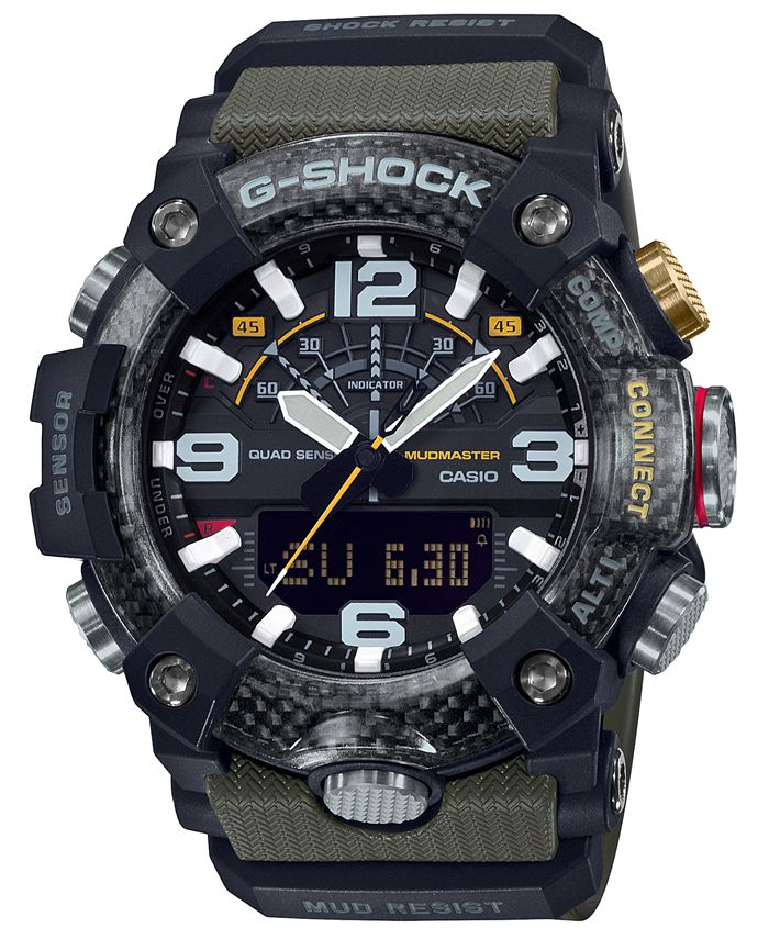 G-Shock - Men's Analog-Digital Connected Mudmaster Green & Black Resin Strap Watch 53.1mm