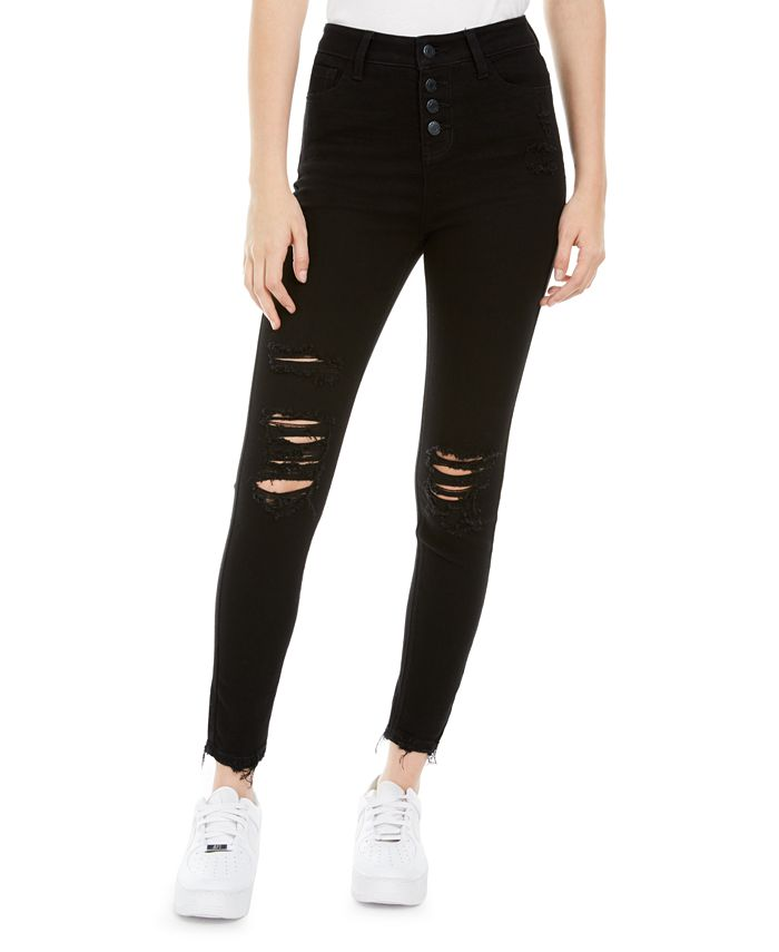 Vanilla Star - Juniors' Ripped Button-Fly Jeans