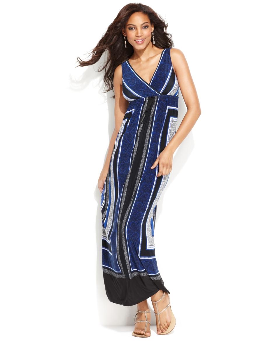 INC International Concepts Dress, Sleeveless Surplice Scarf Print Maxi