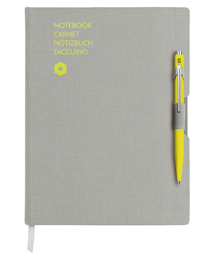 CARAN d'ACHE A5 Gray Notebook with Yellow 849 Ballpoint Pen