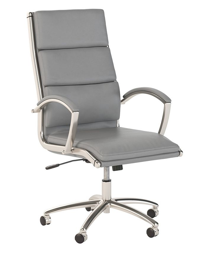 Bush Furniture - Office by kathy ireland® Echo High Back Leather Executive Chair in Light Gray