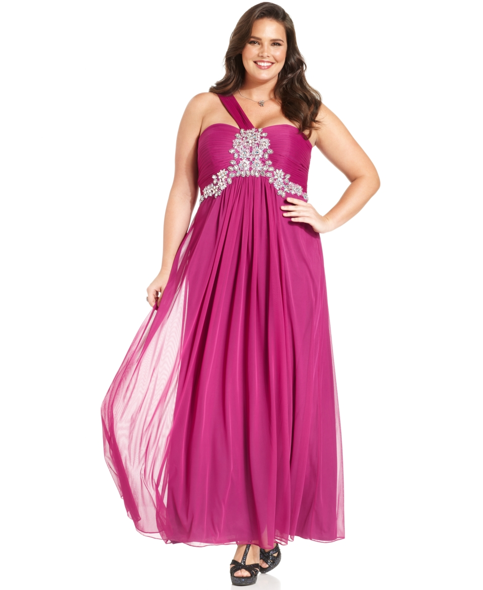 Xscape Plus Size Dress, Sleeveless One Shoulder Pleated Jeweled Gown