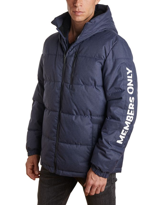 Members Only - Member's Only Men's Puffer Jacket with Faux Sherpa Lined Hood