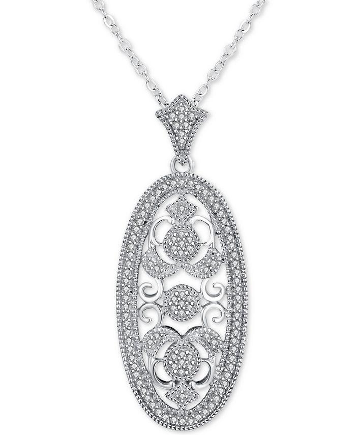 "Macy's - Diamond Ornate Filigree Oval 18"" Pendant Necklace (1/5 ct. t.w.) in Sterling Silver"