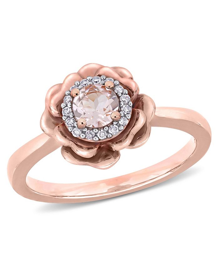 Macy's - Morganite (1/3 ct. t.w.) and Diamond (1/10 ct. t.w.) Flower Halo Ring in 10k Rose Gold