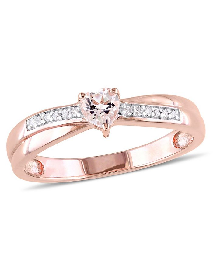 Macy's - Morganite (1/4 ct.t.w) and Diamond (1/20 ct. t.w.) Heart Ring in Rose Gold Over Silver