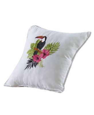 "Paradise Palm Tucan Pillow, 18"" x 18"""