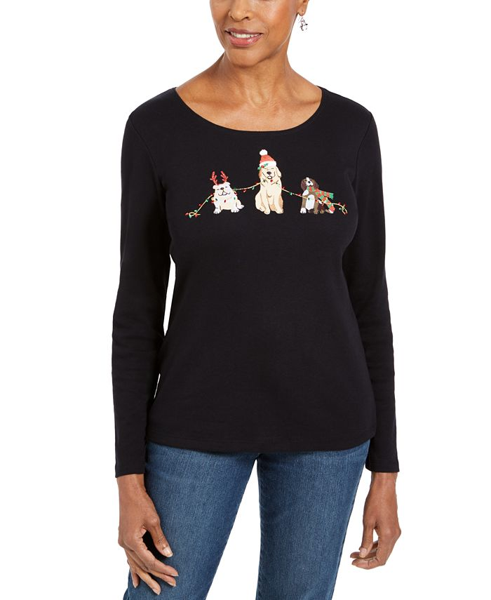 Karen Scott - Embroidered Holiday Dog Shirt