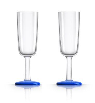 by Palm Tritan Flute Glass with Klein Blue non-slip base, Set of 2
