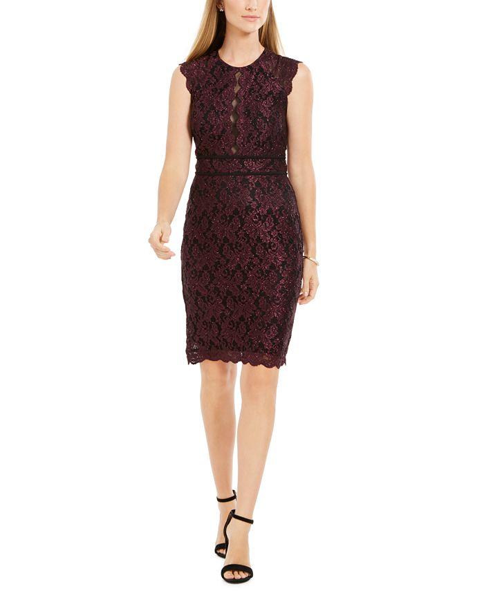Nightway - Metallic Lace Sheath Dress