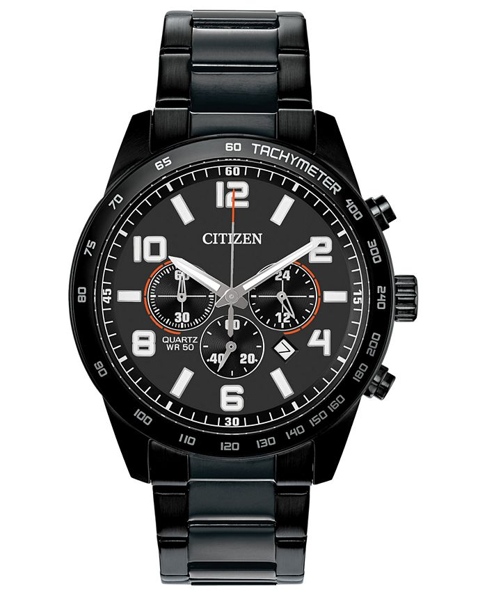 Citizen - Men's Chronograph Quartz Black Stainless Steel Bracelet Watch 44mm
