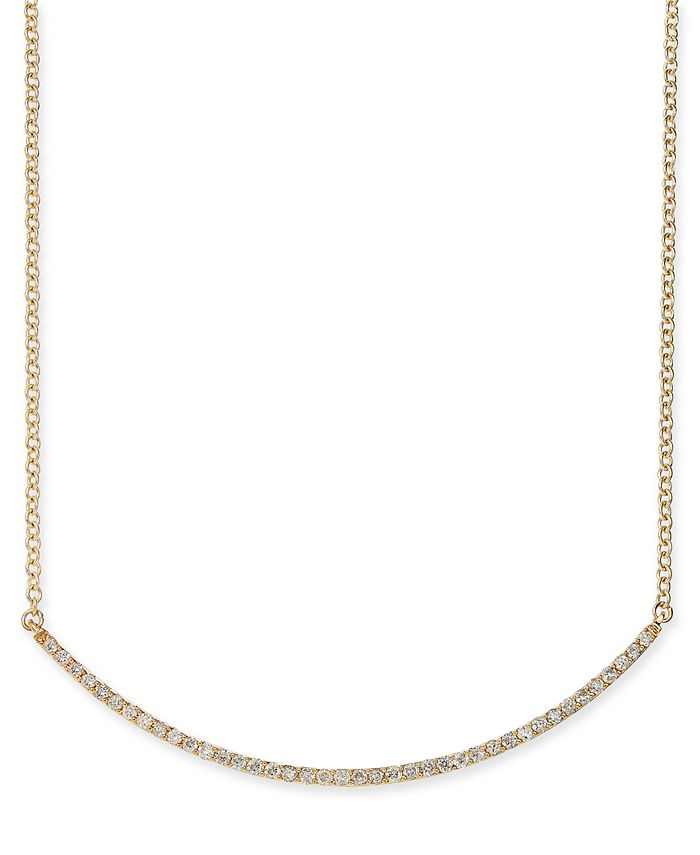 """Macy's - Diamond Curved Bar 18"""" Statement Necklace (1/2 ct. t.w.) in 14k Gold"""