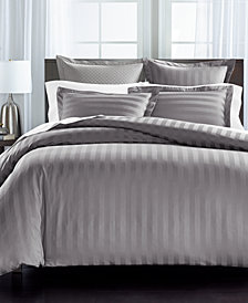"""Charter Club Damask 1.5"""" Stripe Supima Cotton 550-Thread Count 2-Pc. Twin Duvet Cover, Created for Macy's"""