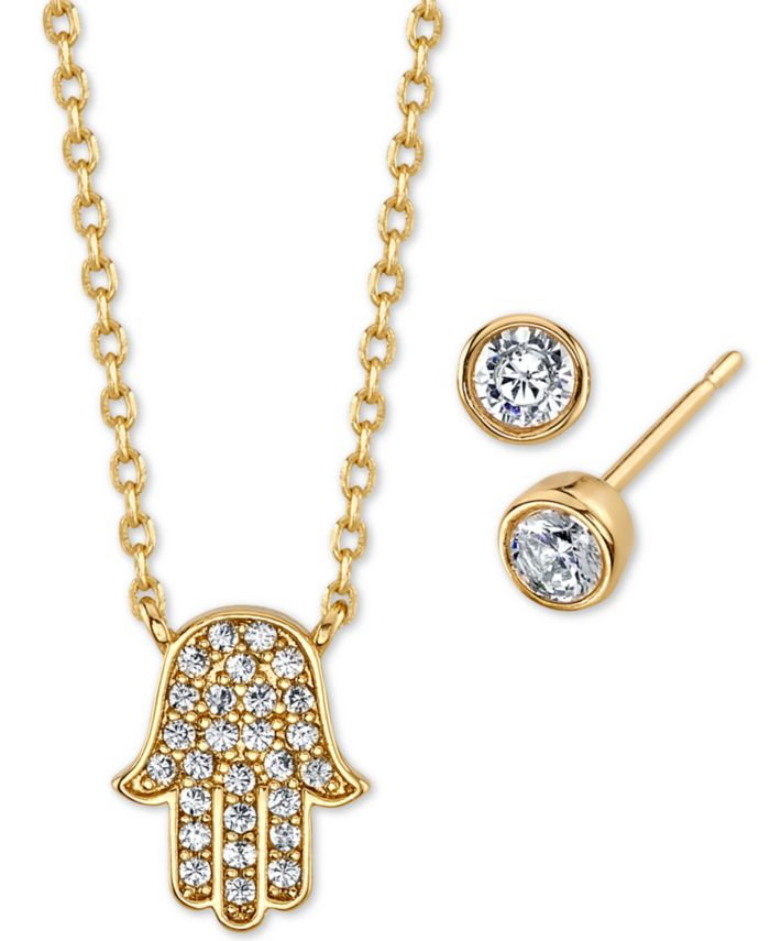 Unwritten 2-Pc. Set Cubic Zirconia Mini Hamsa Hand Pendant Necklace & Stud Earrings in Gold-Tone Fine Plated Silver, Created for Macy's & Reviews - Fashion Jewelry - Jewelry & Watches - Macy's