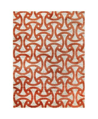 "Tanja Modern Orange 3'10"" x 5'2"" Area Rug"