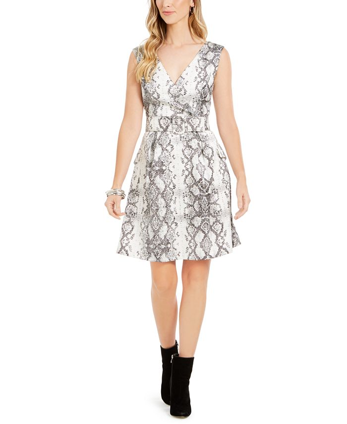 julia jordan - Snake-Print Fit & Flare Dress