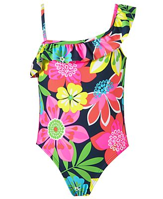Carter's Kids Swimwear, Little Girls Ruffle Shoulder One-Piece Swimsuit