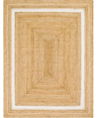 Braided Border Brb1 Natural/White 9' x 12' Area Rug
