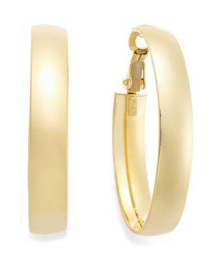 14k Gold Earrings, Omega Back Hoop Earrings 796463