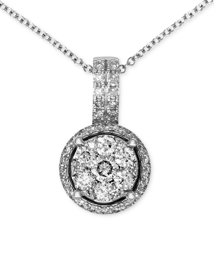 EFFY Collection - Diamond Circle Cluster Pendant (3/8 ct. t.w.) in 14k White Gold