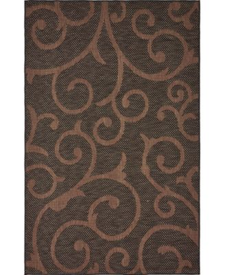 Pashio Pas7 Chocolate Brown 6' x 9' Area Rug