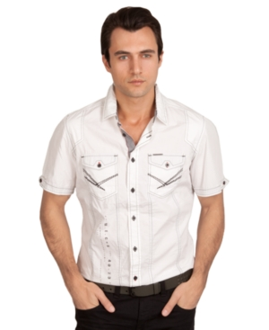 Marc Ecko Cut  Sew Shirt Microcheck Short Sleeve Poplin Shirt