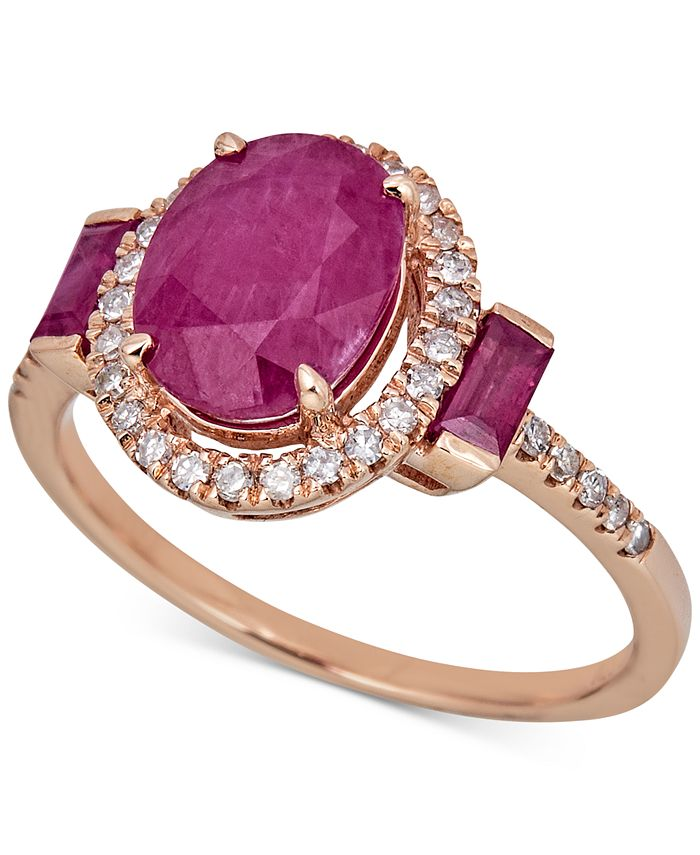 Macy's - Certified Ruby (2-1/5 ct. t.w.) & Diamond (1/5 ct. t.w.) Ring in 14k Rose Gold (Also in Sapphire & Emerald)