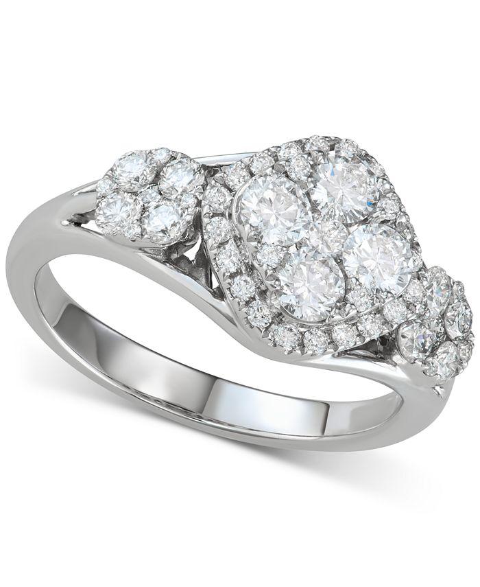 Macy's - Diamond Cluster Ring (1-1/4 ct. t.w.) in 14k White Gold