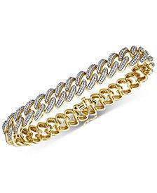 Men's Diamond Cuban Link Bracelet (1 ct. t.w.) in 14k Gold-Plated Sterling Silver